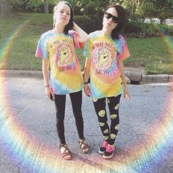 t-shirt tie dye unicorn hipste dye pastel shirt grunge unicorn shirt t-shirt leggings