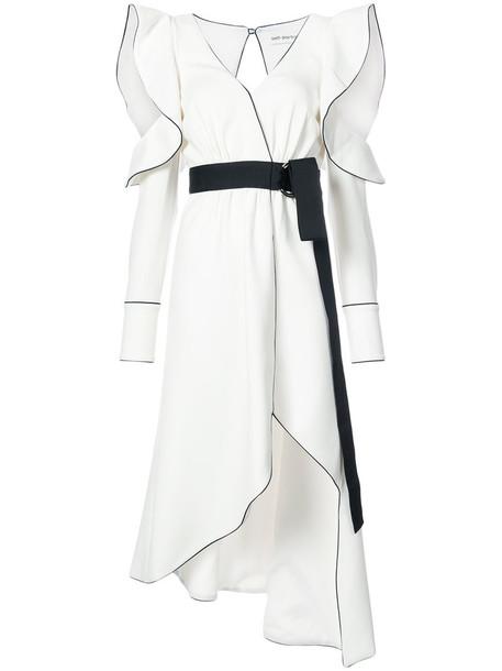 self-portrait dress wrap dress women spandex white