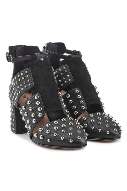 RED Valentino Embellished Leather Ankle Boots  in black