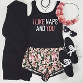 shirt,vintage,grunge,black,style,flowers,vans,like,you,naps,so,me,pink,shorts,cardigan,skirt,shoes,hair accessory,sunglasses,jewels,black shirt,pink and black shirt,top,summer,cute,floral,flower crown,pastel,goth,fashion,glasses