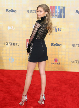 dress gigi hadid red carpet black dress mini dress sexy dress mesh dress high heel sandals sandals silver sandals hairstyles