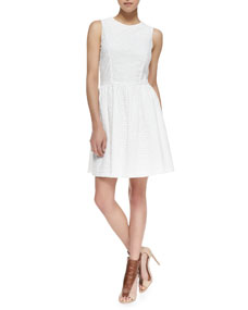 Sunflower Eyelet Fit-And-Flare Dress, Winter White