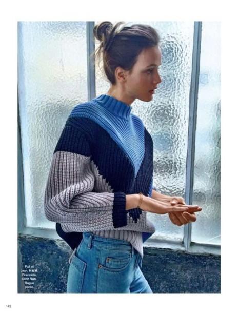 sweater jumper v neck knitted sweater blue black white oversized dope cool dark blue cool sweater oversized sweater romper colorblock romper blue sweater blue top blue and white