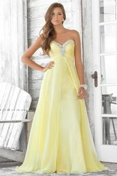 dress,festkjoler,prom dress,yellow dress,long prom dress,strapless