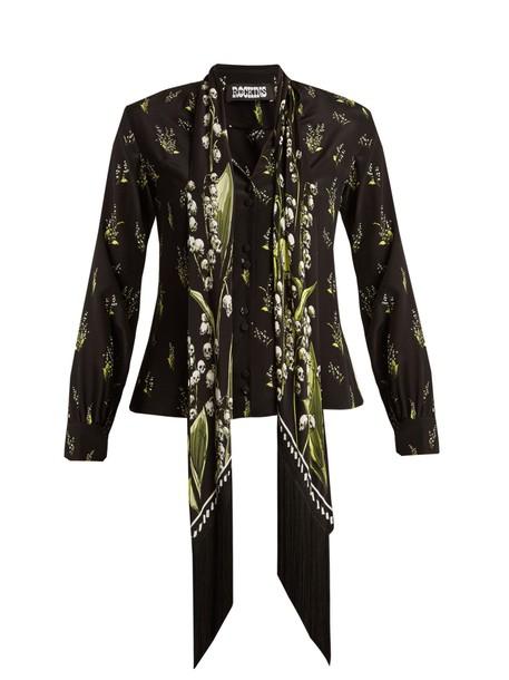 Rockins shirt print silk black top