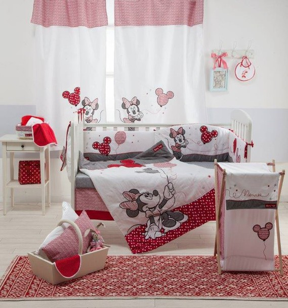 home accessory, baby bedding set, red minnie mouse, red ...