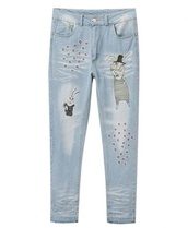 pants,jeans,blue skinny jeans,pencil jeans,cartoon,girly,cute,fall outfits,winter outfits,fashion,style,boyfriend jeans