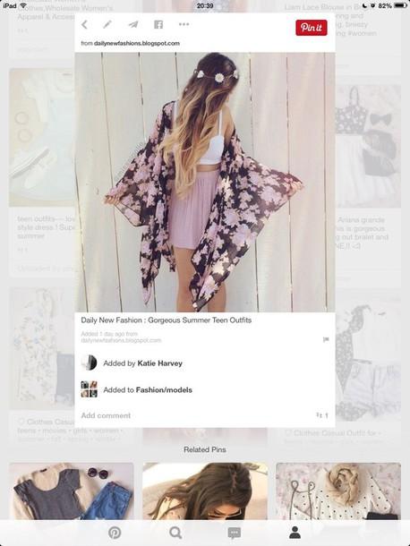 cardigan floral kimono skirt pink skirt skater skirt hair accessory shirt scarf
