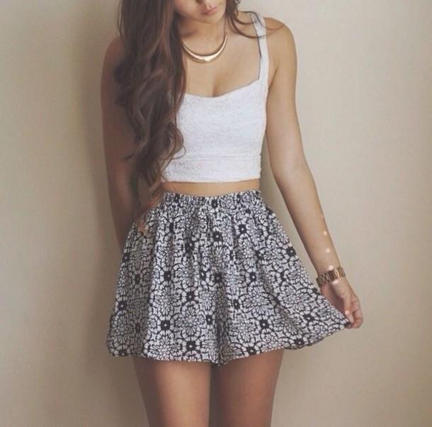 Skirt clothes skater skirt tank top jewels t-shirt blue skirt white skirt floral floral ...