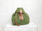 bag,vintage leather backpack,green backpack,linen backpack,vintage backpack,military rucksack,vintage military backpack,cervo backpack,cervo ruckack,vintage