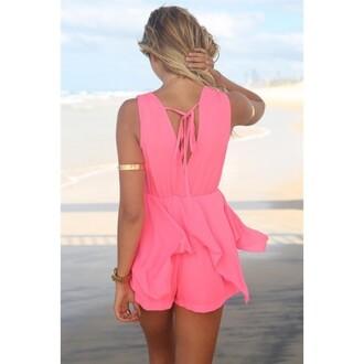 jumpsuit backless lacing chiffon pink dress v neck dress