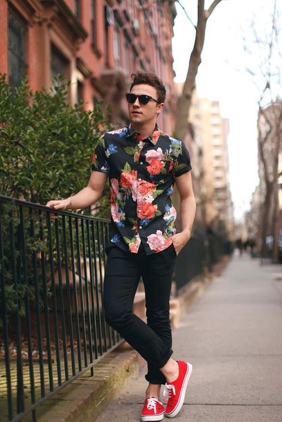 Shirt: floral, red, menswear, mens shirt, shoes, black, pink, red ...