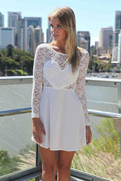 dress,lace dress,white dress,mini dress,cute dress,heart dress,heart shaped front,white lace dress,open back dresses,bow dress,bow on back,short dress,long sleeve dress,long lace sleeves,graduation dress,vintage formal dresses australia,formal dresses online cheap,buy formal dresses online,high school formal dresses