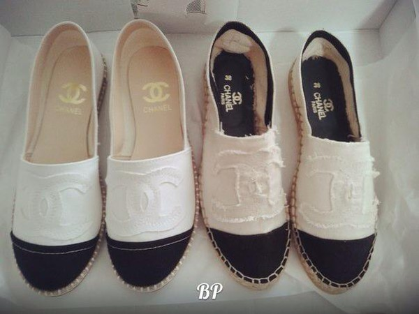 shoes chanel white black canvas