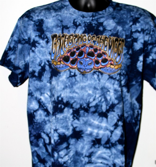 2010 Wood Turtle Dark Blue Tie Dye T-Shirt | Gathering of the Vibes Music Festival