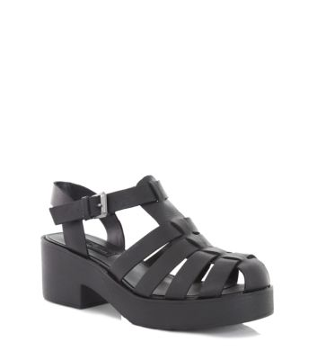 f9fecaeb3f2 Limited Black Leather Chunky Gladiator Sandals