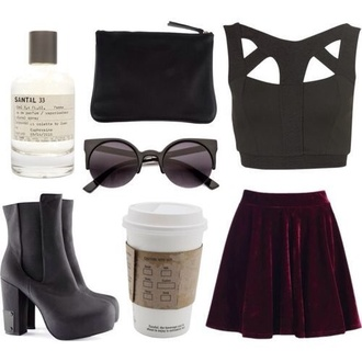 skirt grunge burgundy velvet back to school top shoes black friday cyber monday sunglasses style