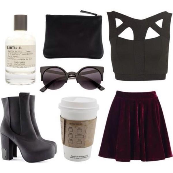 skirt grunge grunge burgundy velvet back to school top shoes black friday cyber monday sunglasses style