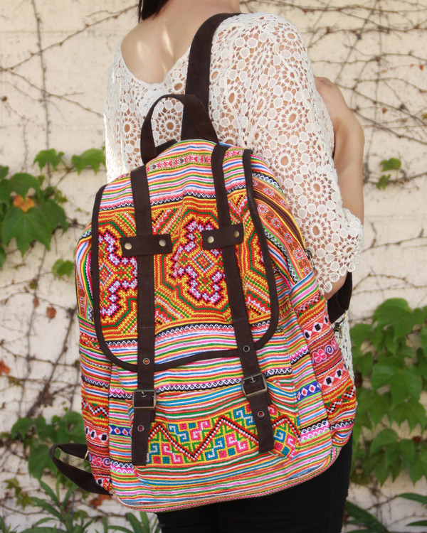 bag backpack colorful boho chic aztec tribal pattern