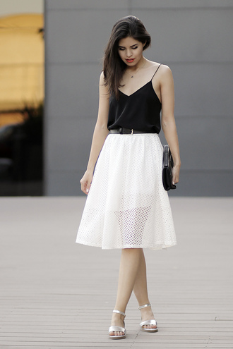 fake leather tank top skirt shoes bag jewels silver sandals silver low heel sandals sandals flat sandals midi skirt white skirt top spaghetti strap spaghetti strap top black top blogger clutch