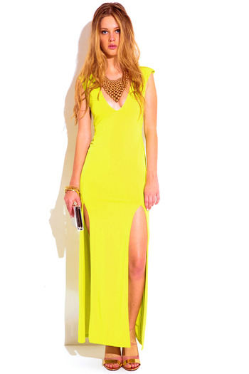 Chartreuse green deep v neck sweetheart backless double slit evening maxi dress