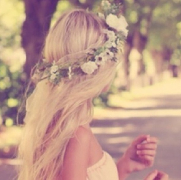 hat flower crown flowers crown tumblr girl pretty blonde hair hair