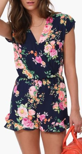 romper bright floral spring ruffle summer