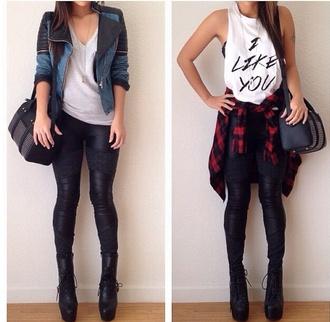 jacket black black leggings muscle tee tank top t-shirt basic tee fall outfits spring outfits bag heels
