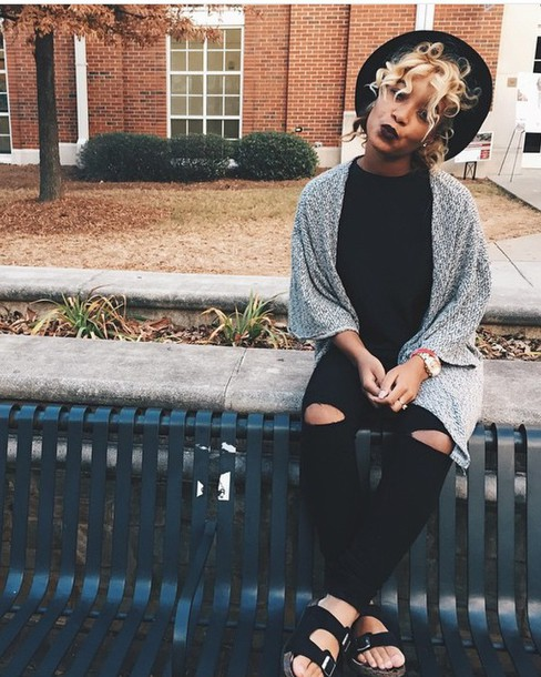 Cardigan Black T shirt Jeans Hats Dark Chill Tumblr Outfit Outfit