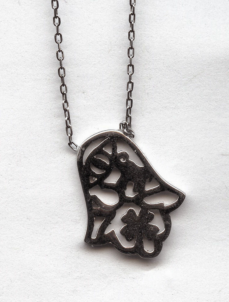 925 silver hamsa pendant with evil eye and 4 leaf clover necklace