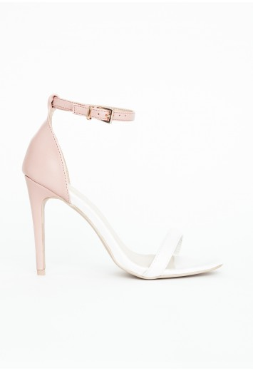 Missguided - Nadia Contrast Strappy Heeled Sandals In Nude