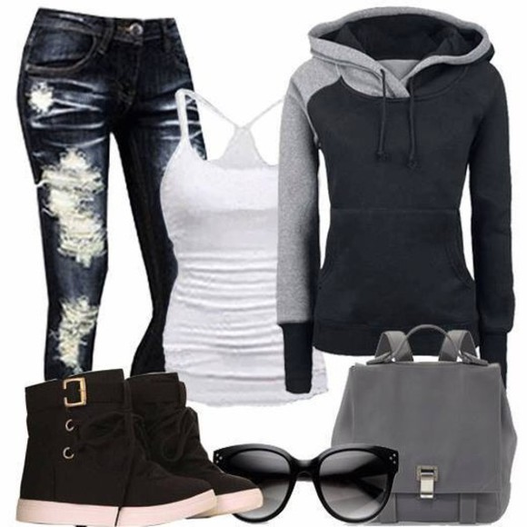 sweater jacket grey sweater grey rocker rock chic jeans shoes