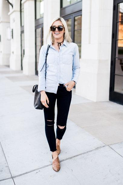 little miss fearless blogger bag shoes sunglasses jeans blue shirt flats