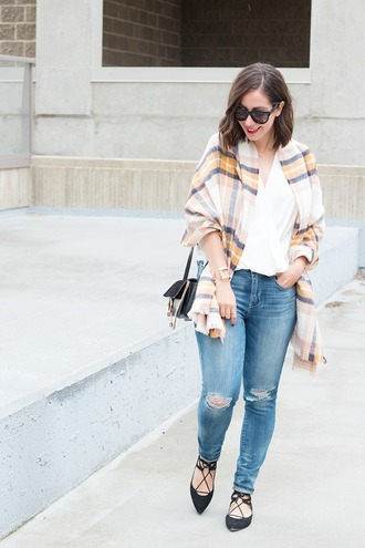 adventures in fashion blogger blouse jeans scarf sunglasses bag jewels