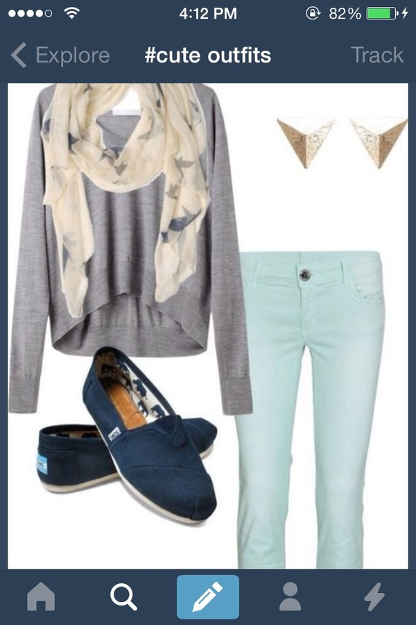 sweater scarf earrings pants jeans blue cute blouse jewels shoes grey outfit mint outfit beautymanifesto printed scarf where to get everything ?!? mint green mint green jeans shirt toms cute adorable outfit colorful jeans skinny jeans highlowsweater cardigan back to school top