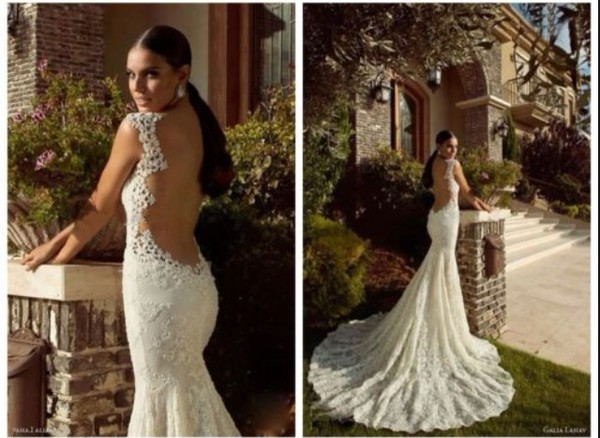 wedding dress backless white dress mermaid wedding dress