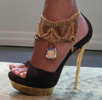 shoes high heels open toe high heels chianed high heels chain high heels black and gold high heels