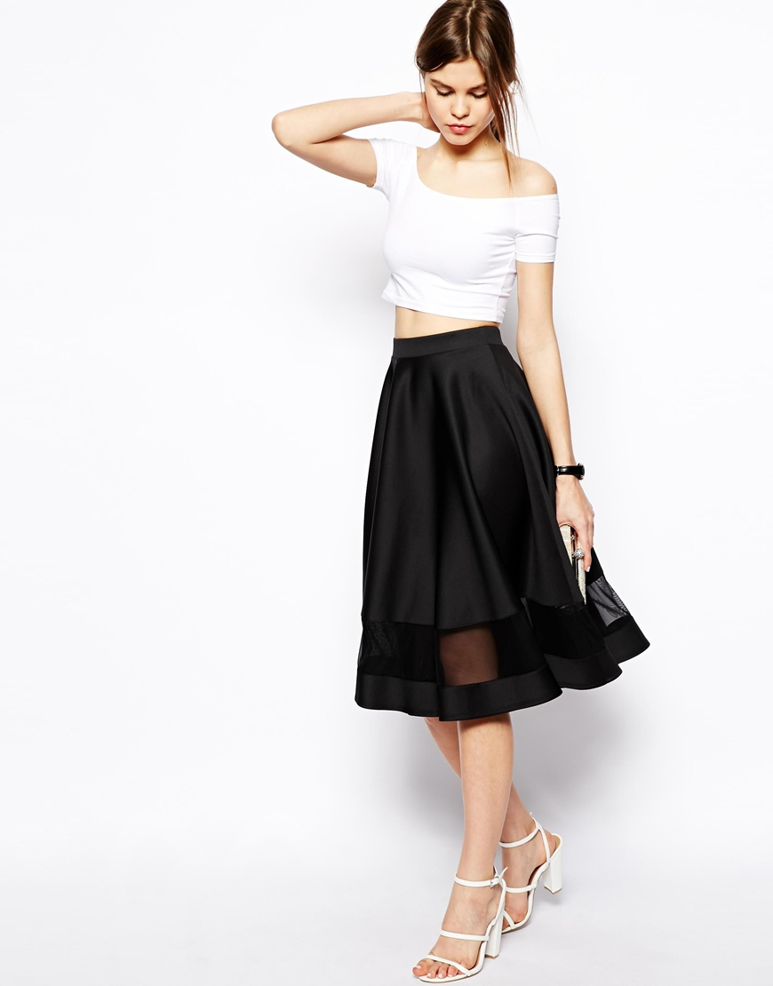ASOS Midi Skirt In Scuba With Sheer Panel at asos.com