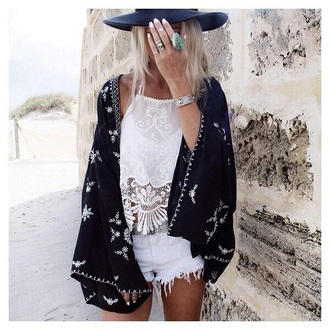 cardigan kimono black outfit style bohemian tumblr outfit fashion boho style boho chic shorts