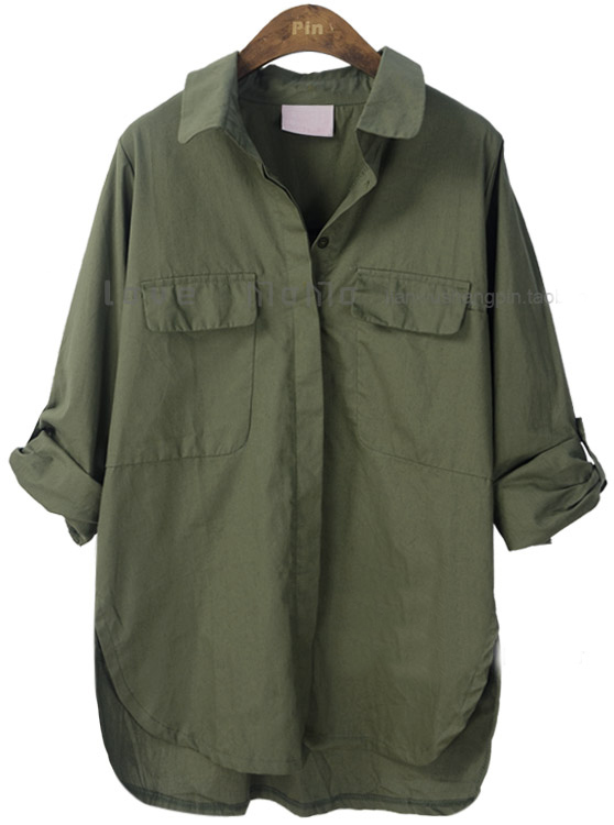 Army Green Lapel Batwing Long Sleeve Pocket Shirt - Sheinside.com