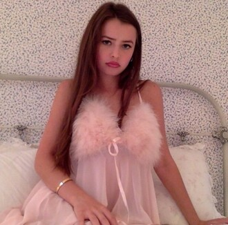 dress fluffy pink sleep sleepwear cute girly lingerie