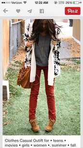 shoes,cardigan,tribal cardigan,earth tone,pants,dark orange pants,orange pants