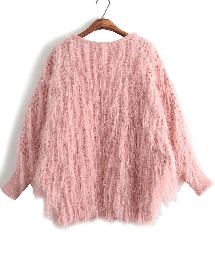 Pink Long Sleeve Tassel Knit Cardigan - Sheinside.com