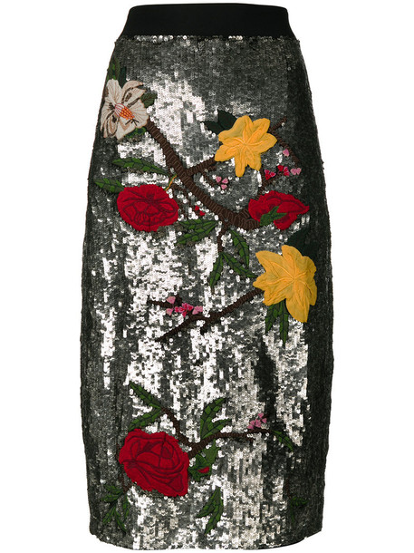 Alice+Olivia skirt women spandex grey metallic