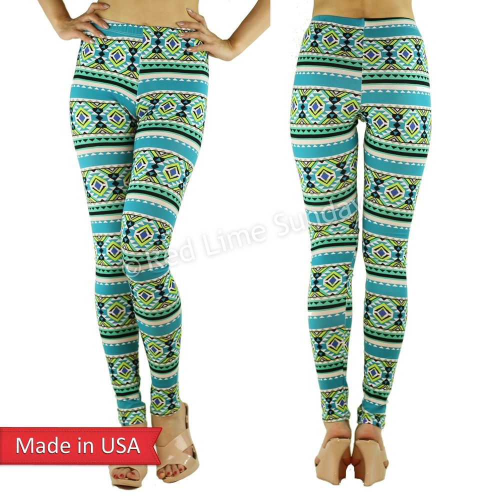 Mint green aztec tribal ethnic pattern cotton print leggings tight pants usa