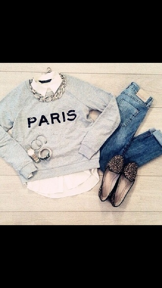 t-shirt paris sweater jewels jeans