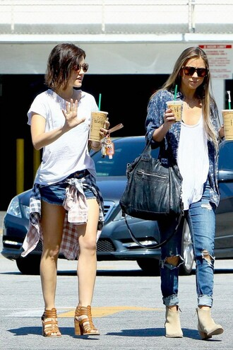 shoes shorts sandals lucy hale streetstyle sunglasses