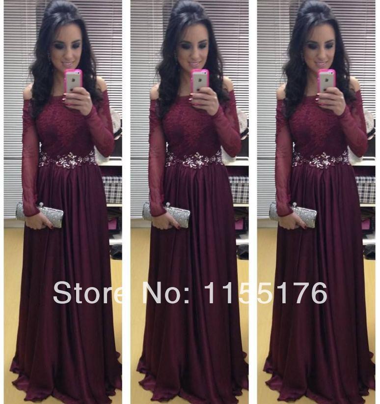 Elegant long sleeves exquisite jewel beaded lace appliqued floor length chiffon exotic maroon women evening dress