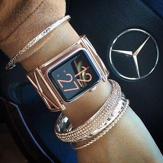 jewels watch gold watch apple apple watch accessories accessory bracelets gold bracelet jewelry stacked bracelets stacked jewelry