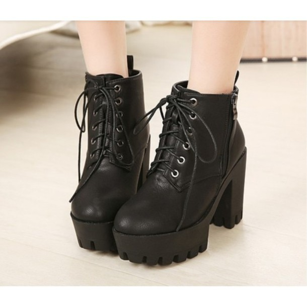 Shoes: boots, heels, black, trendy, tumblr, zip, platform ...